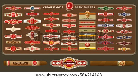 A big set of vintage cigar bands templates. Vector elements