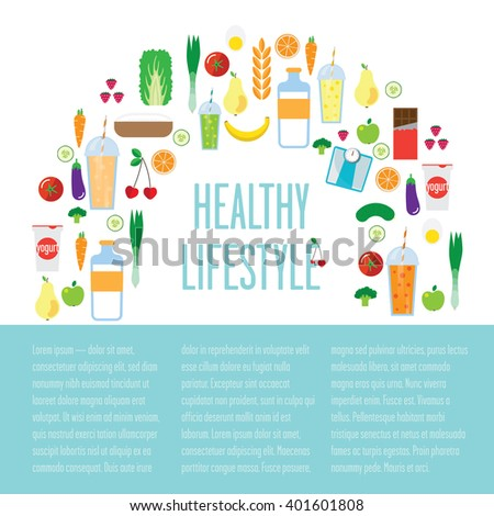 """A big variety of food: tomato, orange, yogurt, apple, egg and a big sign: """"healthy lifestyle"""" is in the middle. Also there is a place for the text. Almost all of these groceries help you to stay fit."""