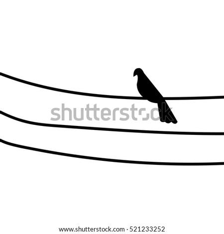 a bird on the power line vector