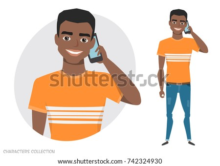 A black african american man is talking on the phone