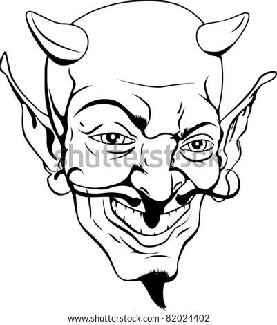 A black and white cartoon style devil face