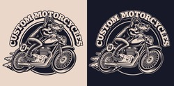 A black and white emblem with a wolf on a motorcycle for a biker theme, this design can be used as shirt print, as a logotype, and for many other uses.