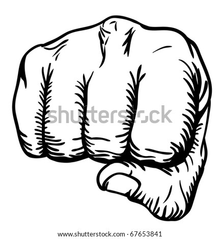 a black and white illustration of a front view of a right human hand punching towards you