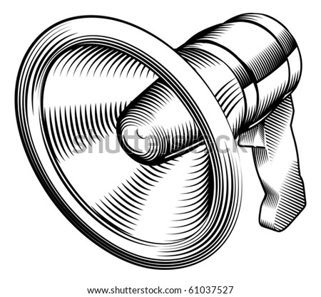 a black and white illustration of a megaphone - stock vector