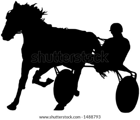 A black and white illustration of a trotter during the race