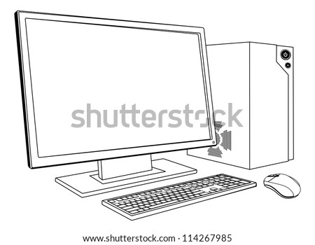 A black and white illustration of desktop PC computer workstation. Monitor, mouse keyboard and tower - stock vector