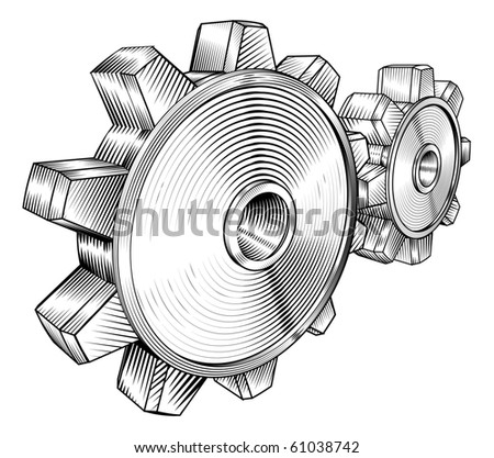 a black and white illustration of interlocking cogs