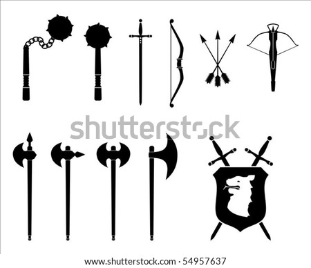 A black and white set of medieval weapons illustration.