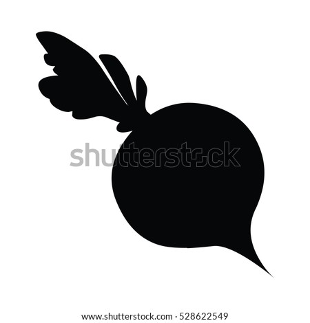 A black and white silhouette of a beetroot