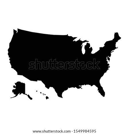 A black and white vector silhouette of the country of America