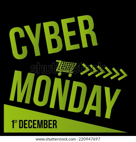 a black background with green text and a cart for cyber monday