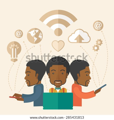A black businessmen using different kind of modern technology with internet wifi, bulb, cloud with downloading symbol, global and gear in the picture. Business concept. A Contemporary style with