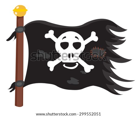 a black flag with a skull and