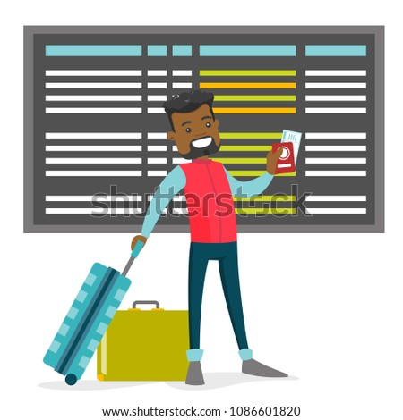 A black man holding a passport and luggage near the timetable in the airport. Flight timetable. Concept of global travelling. Vector cartoon illustration isolated on white background.