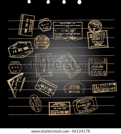 A black note paper with golden visa stamps