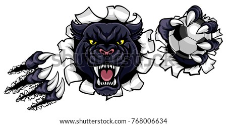 A black panther angry animal sports mascot holding a soccer football ball and breaking through the background with its claws