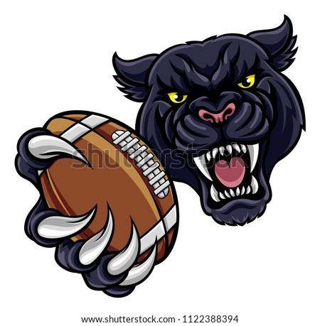 A black panther angry animal sports mascot holding an American football ball