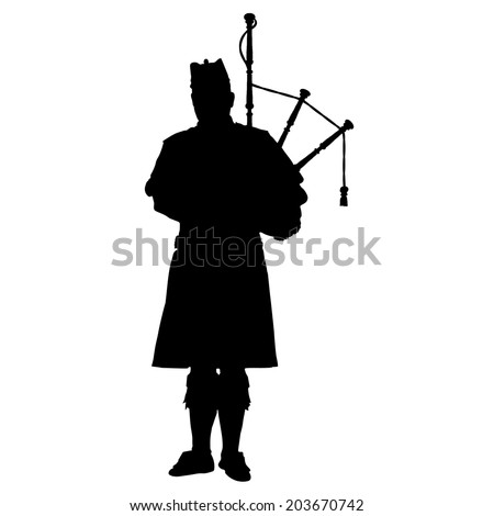 A black silhouette of a Scottish piper playing the bagpipes Сток-фото ©
