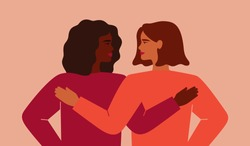 A black woman embraces her friend and they look to each other. Concept of fighting for equality and female empowerment movement. Vector illustration