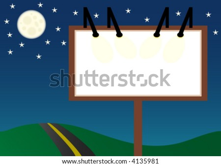 a blank billboard standing next to a road