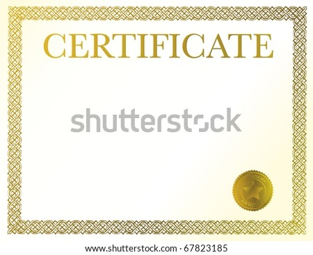 A blank certificate. Ready to be filled with your individual text.