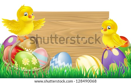 A blank wooden Easter sign with copyspace in the centre for your text