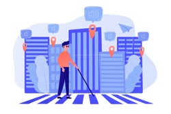 A blind man crossing the street with smart tags and voice notifications around. Barrier-free convenient environment as IoT and smart city concept. Vector illustration on background.