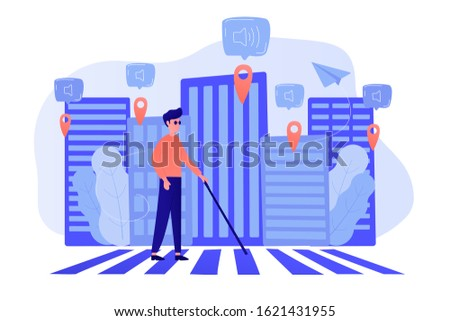 A blind man crossing the street with smart tags and voice notifications around. Barrier-free convenient environment as IoT and smart city concept. Vector illustration on background. Stock foto ©