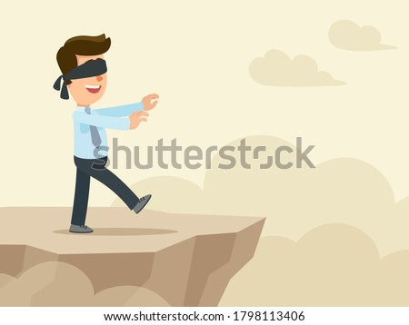A blindfolded young businessman walks along the edge of the abyss. Risky and dangerous business. Vector illustration, flat design, cartoon style. Сток-фото ©