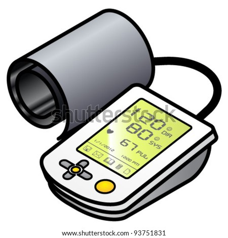 A blood pressure tester with an inflatable cuff.