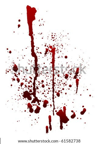 a blood spatter graphic on