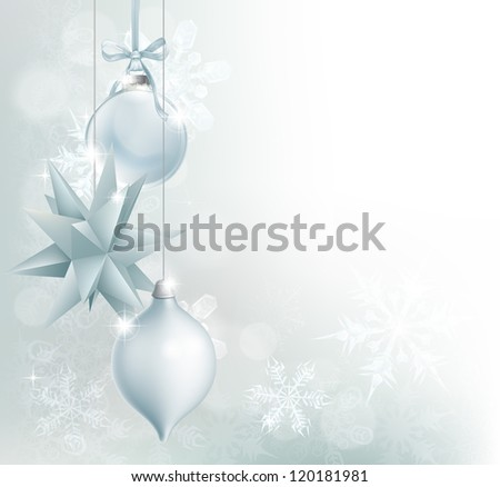 A blue and silver snowflake and Christmas bauble decoration background with hanging ornaments, abstract snowflakes and bokeh