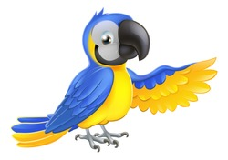 A blue and yellow macaw parrot pointing or showing something with his wing