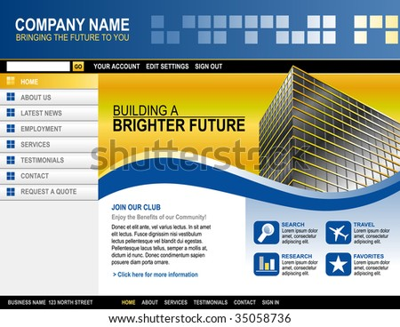 A blue and yellow website template for your business. There is a building on the side with abstract shapes and boxes.