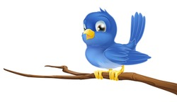 A blue bird cartoon character sitting on a branch