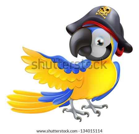 A blue cartoon parrot with a pirate hat and eye patch pointing with its wing - stock vector