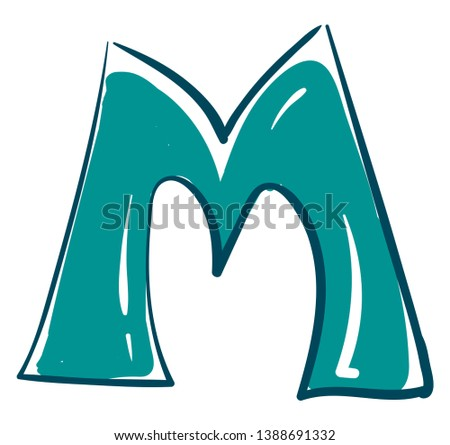 A blue-colored alphabetic figurine represents the alphabet A and stands upright  vector  color drawing or illustration