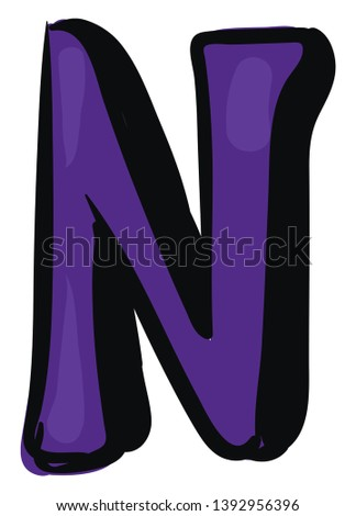A blue-colored alphabetic figurine with a black outline represents the alphabet N  vector  color drawing or illustration