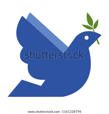 A blue dove of peace with a branch of olive in its beak. Vector illustration on white background. A symbol of the Flood of the Bible.