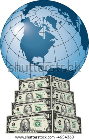 A blue globe sits atop a pedestal of dollar bills