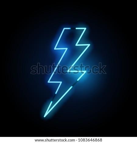A blue neon lightning bolt sign. Vector illustration.