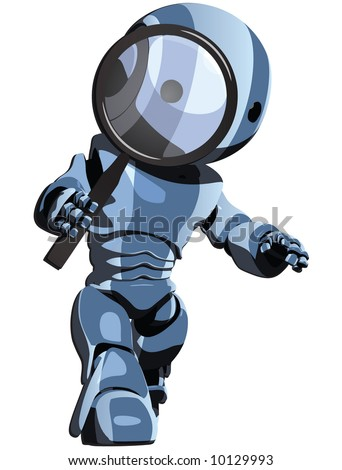 A blue toon robot walking while looking through a magnifying glass.