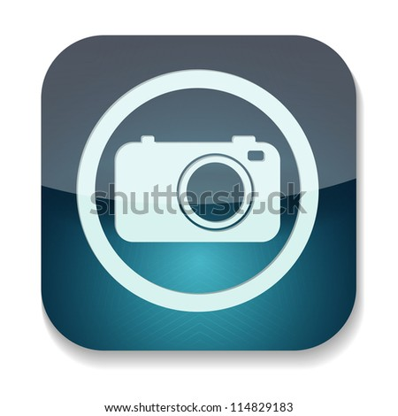 a blue vector icon with camera inside - stock vector