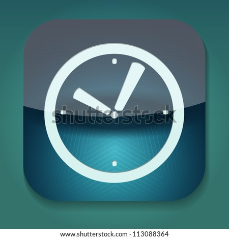 a blue vector icon with clock