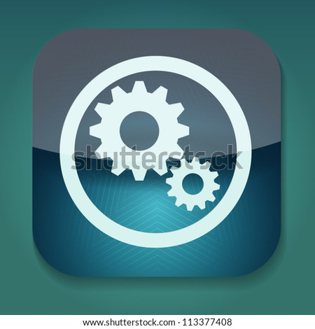 a blue vector icon with gears