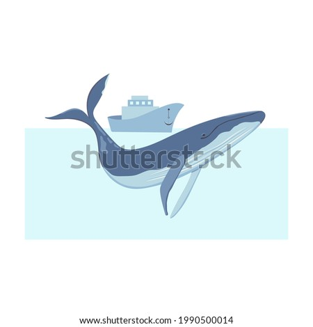 A blue whale in the ocean. On a ship with an anchor raised, they watch a floating whale. The whale's head and tail appeared out of the water. World whales day vector illustration. Save whales.