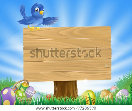 A bluebird Easter cartoon background. Blue bird sits atop  a rustic wooden sign in field of grass with Easter eggs and Easter egg basket.