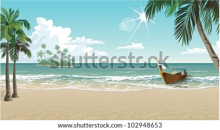 a boat on a tropical beach