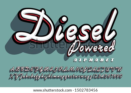 A bold cursive script alphabet with drop shadow effects; Diesel Powered font has a fifties flair. Stock photo ©
