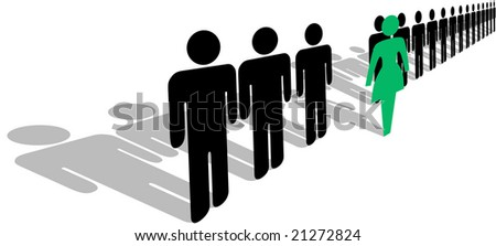 A bold green symbol woman steps forward from a line of people, with shadows.